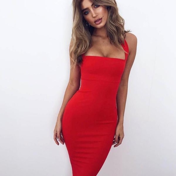 Nookie Dresses Red Midi Dress Revolve Poshmark Stephanie ann shepherd on instagram: red midi dress revolve